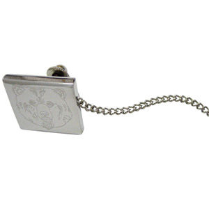 Silver Toned Etched Bear Head Tie Tack